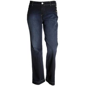 Blue Mid-Rise Button Detail Trouser Jeans Plus